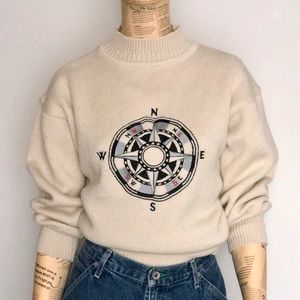 ESPRIT Mock-Neck Cream Sweater w/ Compass Graphic